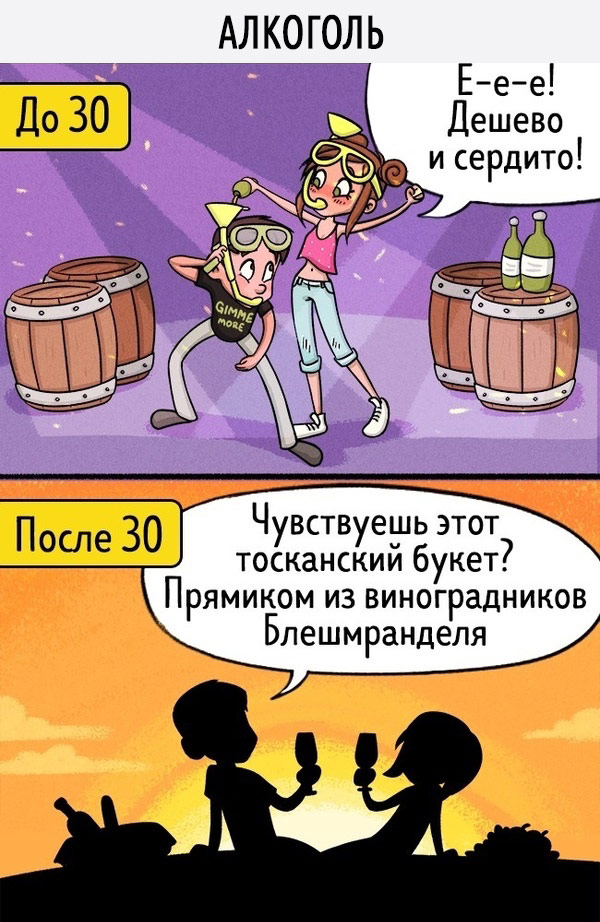 Отношения: до 30 лет и после в картинках
